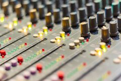 Close up Mixing Console of a big HiFi system stock image