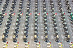 Close up Mixing Console of a big HiFi system, The audio equipment stock image
