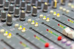 Close up Mixing Console of a big HiFi system, The audio equipment stock photo