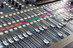 Close up Mixing Console of a big HiFi system, The audio equipment and control panel stock photo