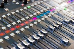 Close up Mixing Console of a big HiFi system, The audio equipment and control panel. Of digital studio mixer stock image