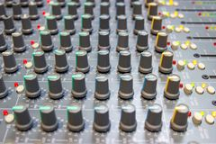 Close up Mixing Console of a big HiFi system, The audio equipment and control panel. Of digital studio mixer royalty free stock images