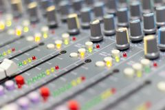 Close up Mixing Console of a big HiFi system, The audio equipment royalty free stock photos