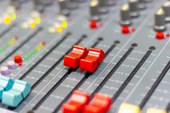Close up Mixing Console of a big HiFi system, The audio equipment royalty free stock image