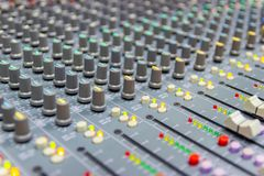 Close up Mixing Console of a big HiFi system stock photo