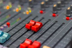 Close up Mixing Console of a big HiFi system stock photography