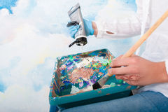 Close-up of mixing paints in palette Royalty Free Stock Photography
