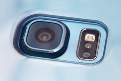 Close up of a mobile phone camera. Close up of a mobile phone camera, flash and sensors Royalty Free Stock Images