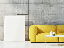 Close up mock up poster with yellow sofa Royalty Free Stock Photo
