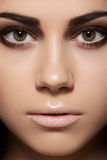 Close-up of model face with eye makeup, clean skin Royalty Free Stock Photography