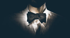 Close-up of a model man wearing bow tie Stock Photos