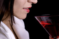 Close-up of model with party drink Royalty Free Stock Photos