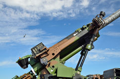 Close-up of the modern antiaircraft gun Stock Photography