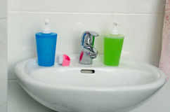 Close Up of Modern Bathroom Sink, tap and accessories Stock Image