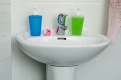 Close Up of Modern Bathroom Sink, tap and accessories Stock Photography