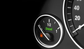 Close up of a modern car interior dashboard details. Fuel level. Diesel engine. Close up of a modern car interior dashboard details. Fuel level. Diesel engine Stock Images