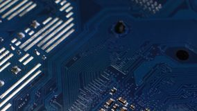 Close Up on a Modern Computer Motherboard. 4K Video. Close Up of a Modern Computer Motherboard. 4K Video stock footage