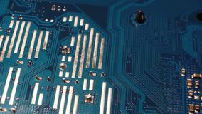 Close Up on a Modern Computer Motherboard. 4K Video. stock footage