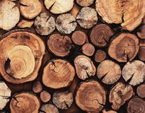 Free Close Up Modern Creative Decor Wall With Stacked Wooden Sawn Logs Stock Photo - 168732930