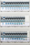 Close up of a modern home electrical panel Stock Photos