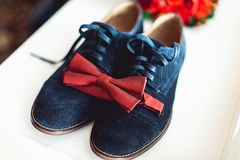 Close up of modern man accessories. Cherry bow tie, blue leather shoest and red wedding bouquet on a carpet. Royalty Free Stock Images