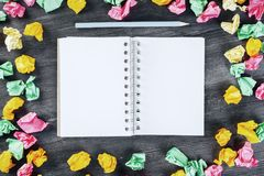 Modern desktop with blank notepad Royalty Free Stock Photo