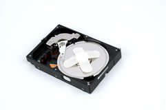 Close up of modern opened hard disk drive. Close up of opened hard disk drive Stock Photo