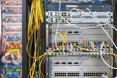 Close up of modern server room stock photos
