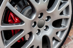 Close up of a modern sport wheel Royalty Free Stock Photography