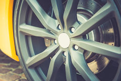 Close up of a modern sport wheel Royalty Free Stock Photos