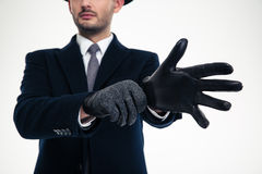 Close up of modern stylish gloves weared on handsome businessman Royalty Free Stock Photography