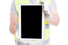 Close-up of modern tablet with blank screen Royalty Free Stock Photography