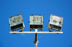Close Up of a modern white metallic street lamp Stock Photography