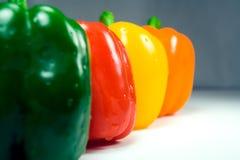 Close up molhado de quatro pimentas directamente imagens de stock