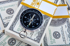 Free Close Up Money And Compass Concept Royalty Free Stock Photography - 14924017