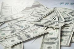 Close-up Of Money background United States dollar USD on table. Many happy Royalty Free Stock Photo