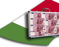 Close up of money case on italian flag Stock Photo