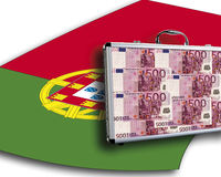 Close up of money case on portuguese flag Royalty Free Stock Photography