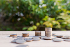 Close up money coins stack. In saving money and growing, concept save money financial Royalty Free Stock Photo