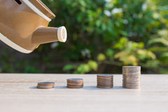Close up money coins stack. In saving money and growing, concept save money financial Royalty Free Stock Photography