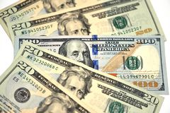 A close-up of money, 20 dollars and 100 dollars royalty free stock image