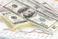 Close-up of money and financial papers. Stock Photo