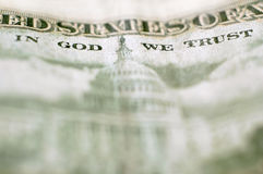 Close up of money In God We Trust Royalty Free Stock Photography