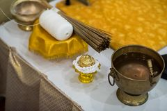 Set of Object for Thai wedding ceremony in Buddhist Cultural Thailand, Asia. Close up monk`s alms-bowl holy water Buddhist rituals and water blessed by a priest stock image