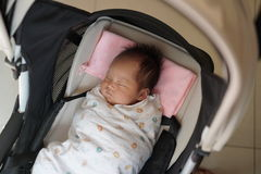 Close up of 1 month old baby in pram Royalty Free Stock Image