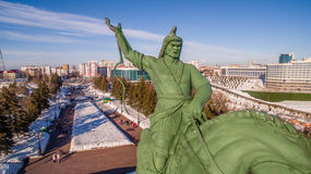 Close-up of Monument to Salavat Yulaev in Ufa at winter aerial view Stock Images