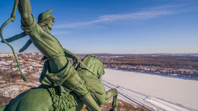 Close-up of Monument to Salavat Yulaev in Ufa at winter aerial view Stock Photography