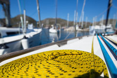 Close-up of a mooring rope Royalty Free Stock Images