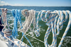 Close up of mooring rope on sailboat or yacht Stock Image