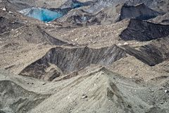 Close up of moraine and silt of Root Glacier in Wrangell St Elias National Park. In Alaska stock image